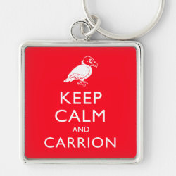 Premium Square Keychain with Keep Calm & Carrion (vulture) design
