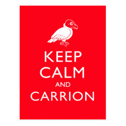 Postcard with Keep Calm & Carrion (vulture) design