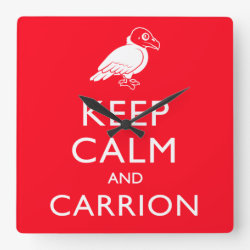 Square Wall Clock with Keep Calm & Carrion (vulture) design