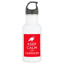 Water Bottle (24 oz) with Keep Calm & Carrion (vulture) design