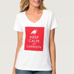Women's Hanes Nano V-Neck T-Shirt with Keep Calm & Carrion (vulture) design