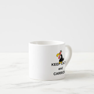 Keep Calm and Carrion Vulture with Crown Meme Espresso Cup