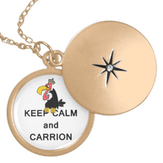 Keep Calm and Carrion Vulture with Crown Meme Necklace