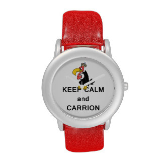 Keep Calm and Carrion Vulture with Crown Meme Wristwatches