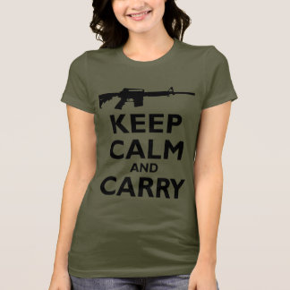 Keep Calm and Carry - 2nd Amendment - AR15 T-Shirt