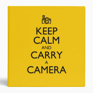 Keep Calm and Carry a Camera 3 Ring Binder