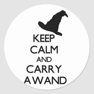 KEEP CALM AND CARRY A WAND CLASSIC ROUND STICKER
