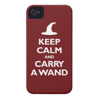 Keep Calm and Carry A Wand (dark red) iPhone 4 Case-Mate Case