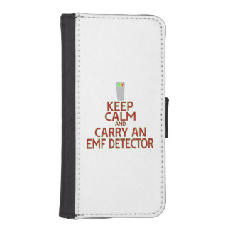 Keep Calm and Carry an EMF Detector (Parody) iPhone 5 Wallet Case