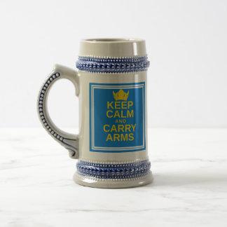 Keep Calm and Carry Arms Swedish Viking Stein Mug