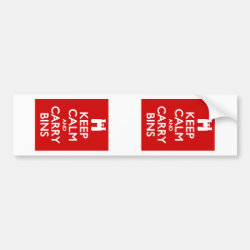 Bumper Sticker with Keep Calm and Carry Bins design