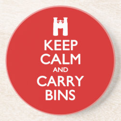 Sandstone Drink Coaster with Keep Calm and Carry Bins design
