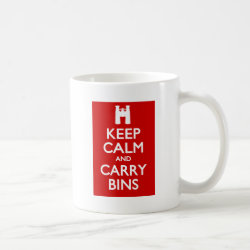 Classic White Mug with Keep Calm and Carry Bins design
