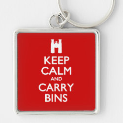 Premium Square Keychain with Keep Calm and Carry Bins design