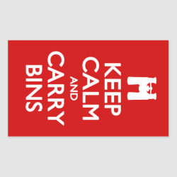 Rectangle Sticker with Keep Calm and Carry Bins design