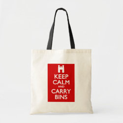 Budget Tote with Keep Calm and Carry Bins design