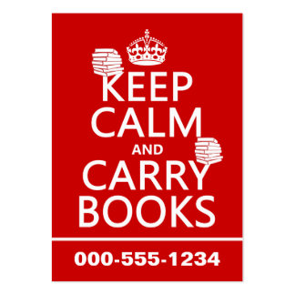 Keep Calm and Carry Books (in any color) Large Business Cards (Pack Of 100)