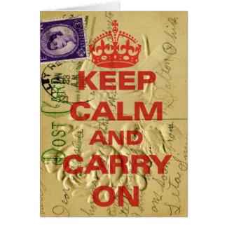 Keep calm and carry card