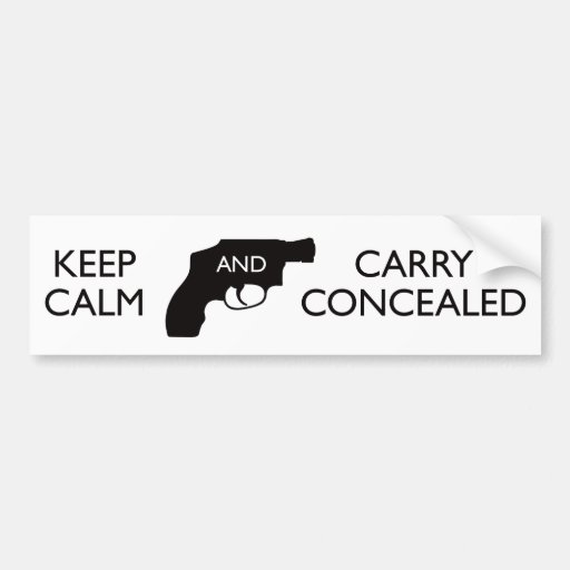 Keep Calm And Carry Concealed White/Black Bumper Sticker