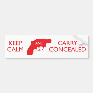 Keep Calm And Carry Concealed White Red Bumper Sticker