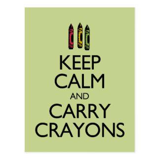 Keep Calm and Carry Crayons Postcard