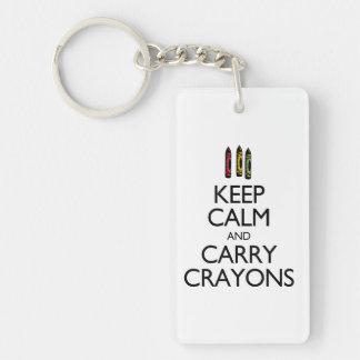 Keep Calm and Carry Crayons Single-Sided Rectangular Acrylic Keychain