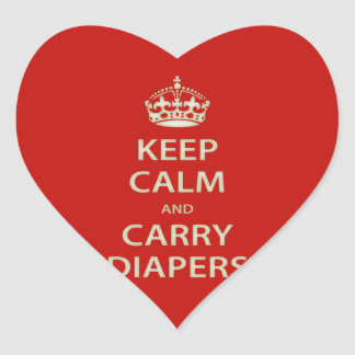 Keep Calm and Carry Diapers Heart Sticker