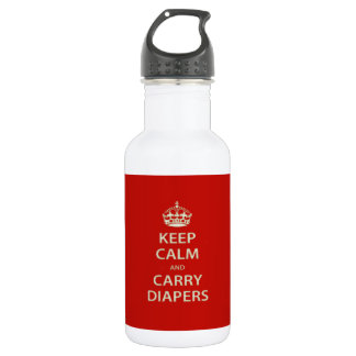Keep Calm and Carry Diapers Water Bottle