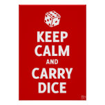 Keep Calm And Carry Dice Poster (d6, red)