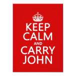 "Keep Calm and Carry John (any color) 5.5"" X 7.5"" Invitation Card"