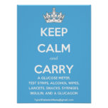 Keep Calm and Carry...(List of Diabetes Supplies!) Print
