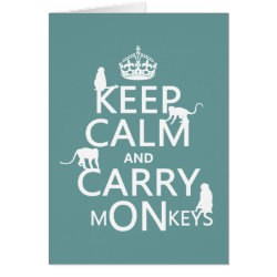 Greeting Card with Keep Calm and Carry Monkeys design