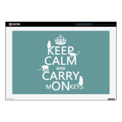 17' Laptop Skin for Mac & PC with Keep Calm and Carry Monkeys design