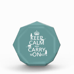 Small Acrylic Octagon Award with Keep Calm and Carry Monkeys design