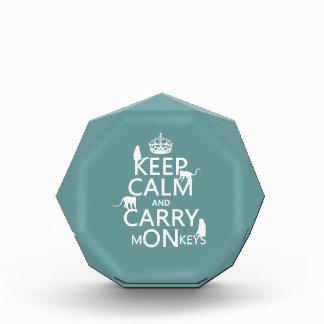 Keep Calm and Carry mONkeys - all colors Acrylic Award