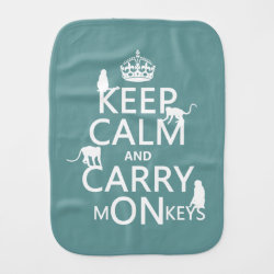 Burp Cloth with Keep Calm and Carry Monkeys design