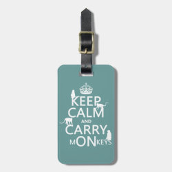 Small Luggage Tag with leather strap with Keep Calm and Carry Monkeys design