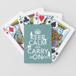 Playing Cards with Keep Calm and Carry Monkeys design