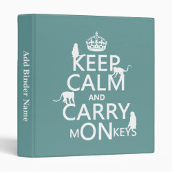Avery Signature 1' Binder with Keep Calm and Carry Monkeys design