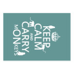 Keep Calm and Carry mONkeys - all colors Large Business Cards (Pack Of 100)