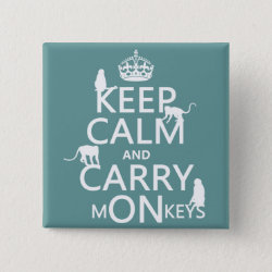 Square Button with Keep Calm and Carry Monkeys design