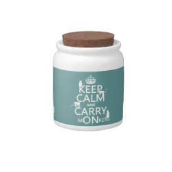 Candy Jar with Keep Calm and Carry Monkeys design