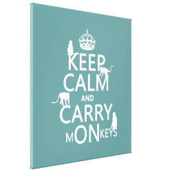 Premium Wrapped Canvas with Keep Calm and Carry Monkeys design