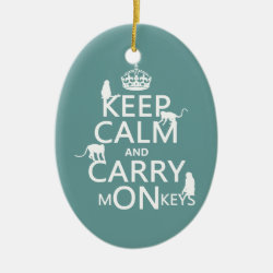 Oval Ornament with Keep Calm and Carry Monkeys design
