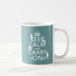 Classic White Mug with Keep Calm and Carry Monkeys design