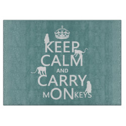 Decorative Glass Cutting Board 15'x11' with Keep Calm and Carry Monkeys design