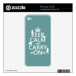 iPhone 4/4S Skin with Keep Calm and Carry Monkeys design