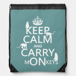 Drawstring Backpack with Keep Calm and Carry Monkeys design