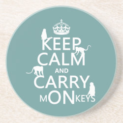 Sandstone Drink Coaster with Keep Calm and Carry Monkeys design