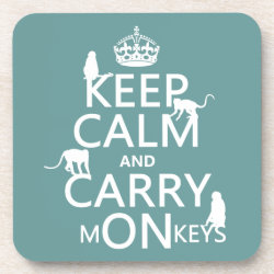 Beverage Coaster with Keep Calm and Carry Monkeys design